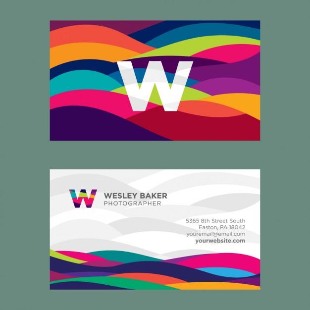 25 Originalissimi Template per Biglietti da Visita da Scaricare Gratis – Wavy Coloured
