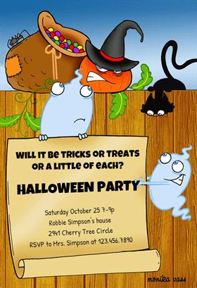 Biglietti di Invito per Feste di Halloween - Halloween Creatures