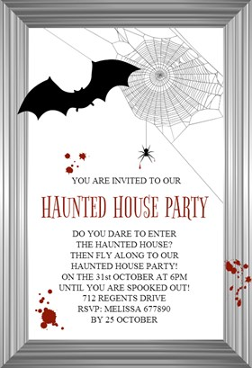 Biglietti di Invito per Feste di Halloween - Hunted House