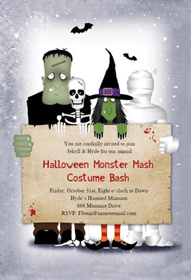 Biglietti di Invito per Feste di Halloween - Monster Masquerade