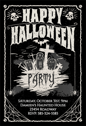 Biglietti di Invito per Feste di Halloween - Really Into Parties