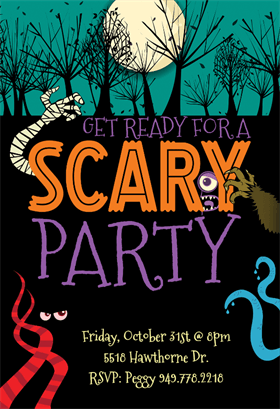 Biglietti di Invito per Feste di Halloween - Scary Party