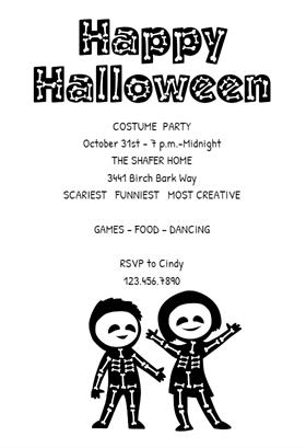 Biglietti di Invito per Feste di Halloween - Skeleton Party