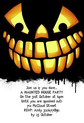 Biglietti di Invito per Feste di Halloween - Spooky Smile