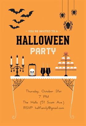 Biglietti di Invito per Feste di Halloween - Spooky Treats