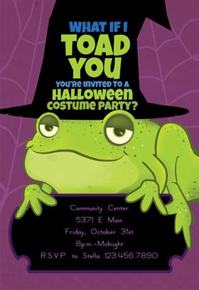 Biglietti di Invito per Feste di Halloween - Toad You