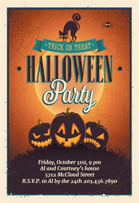 Biglietti di Invito per Feste di Halloween - Vintage Party