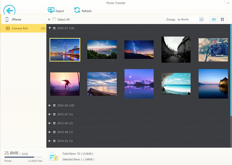 Interfaccia per trasferire foto con Winx MediaTrans