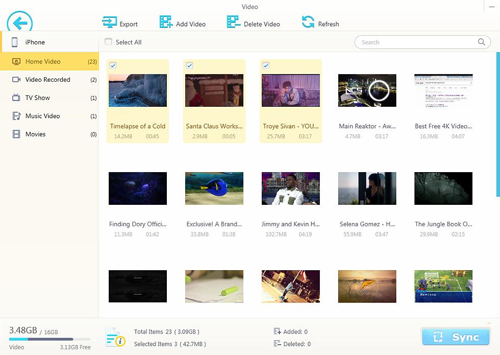 Interfaccia per trasferire video con Winx MediaTrans