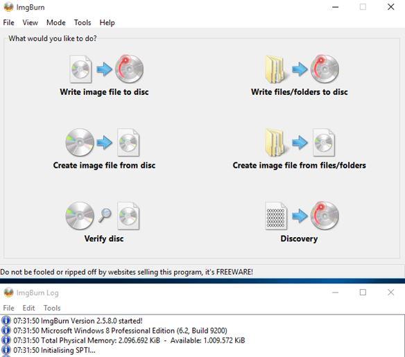 5 Programmi Gratis per Masterizzare Blu-Ray per Windows 10 - ImgBurn