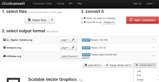 Siti per Convertire Immagini SVG in PNG - CloudConvert