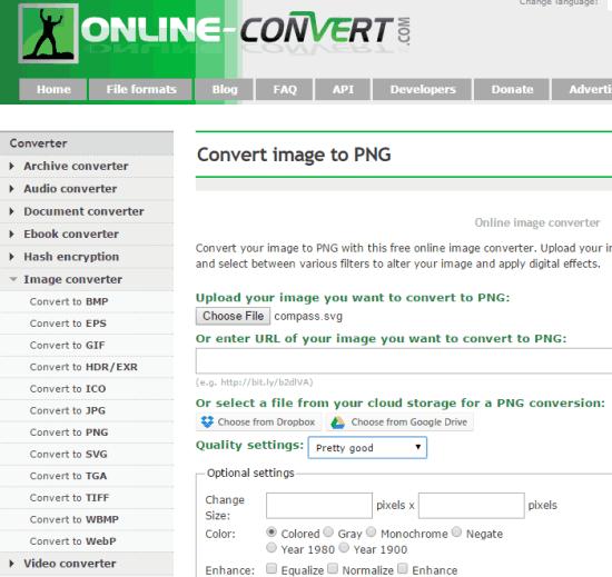 Siti per Convertire Immagini SVG in PNG - Online-Convert