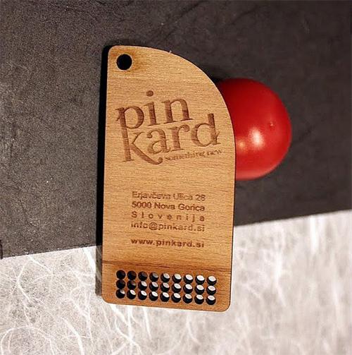 25 Modelli di Biglietti da Visita in Legno Molto Creativi - wooden business pin card