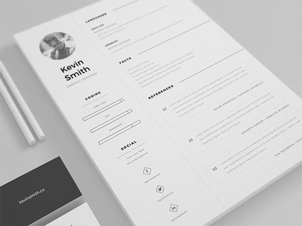 33 Modelli di Curriculum in PSD e AI per Photoshop e Illustrator - clean and minimal