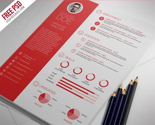 33 Modelli di Curriculum in PSD e AI per Photoshop e Illustrator - clean and professional