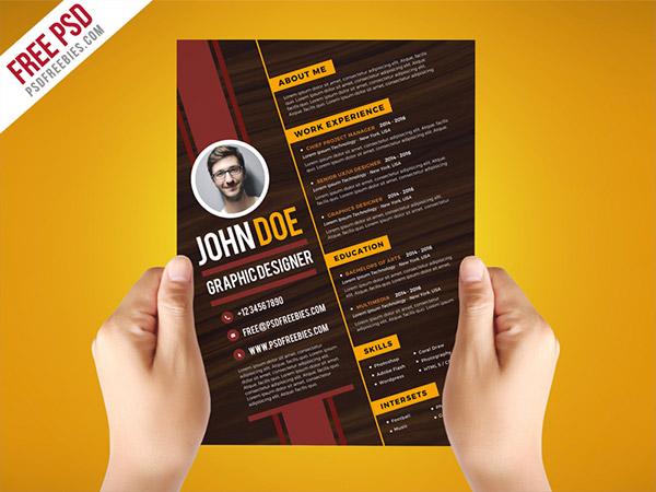 33 Modelli di Curriculum in PSD e AI per Photoshop e Illustrator - clean graphic resume
