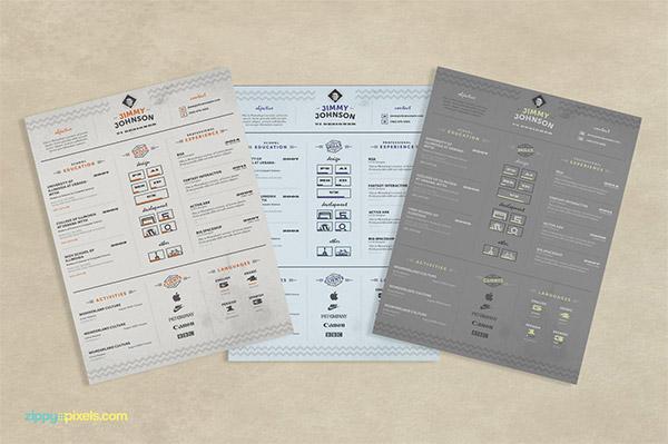 33 Modelli di Curriculum in PSD e AI per Photoshop e Illustrator - corporate resume