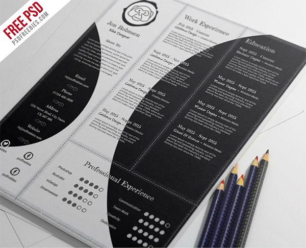 33 Modelli di Curriculum in PSD e AI per Photoshop e Illustrator - creative and professional