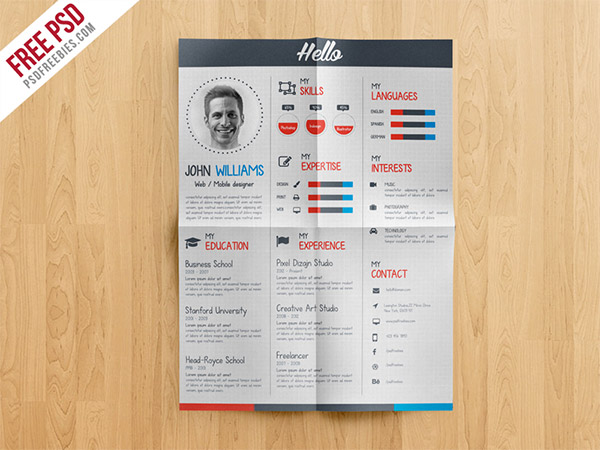 33 Modelli di Curriculum in PSD e AI per Photoshop e Illustrator - creative resume CV