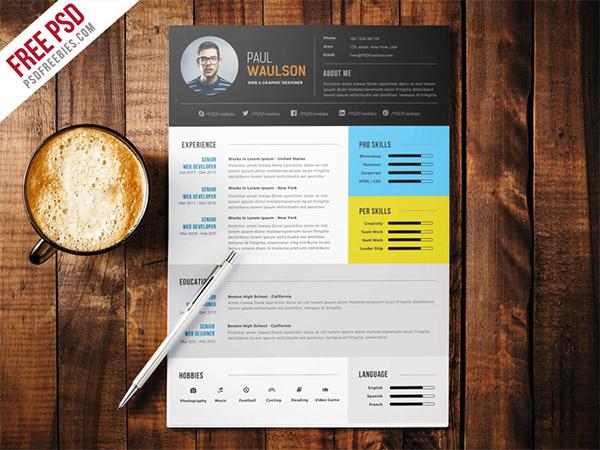 33 Modelli di Curriculum in PSD e AI per Photoshop e Illustrator - elegant modern CV