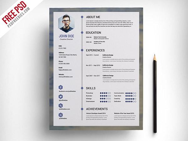 33 Modelli di Curriculum in PSD e AI per Photoshop e Illustrator - free clean resume