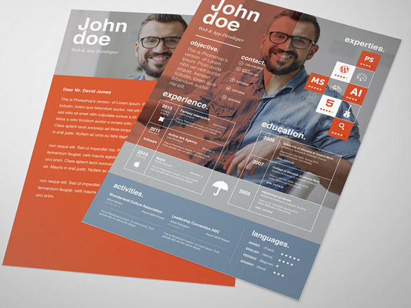 33 Modelli di Curriculum in PSD e AI per Photoshop e Illustrator - free resume template