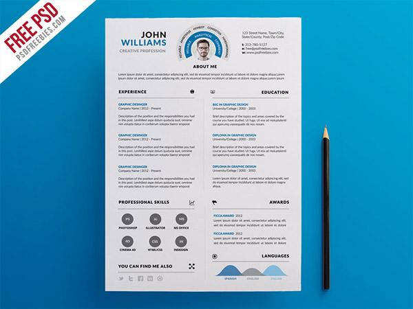 33 Modelli di Curriculum in PSD e AI per Photoshop e Illustrator - infographic resume