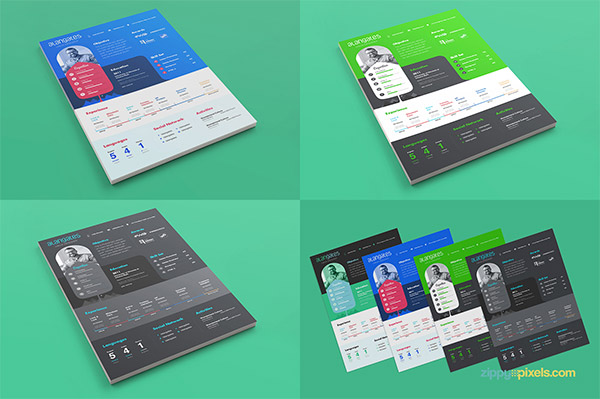 33 Modelli di Curriculum in PSD e AI per Photoshop e Illustrator - modern resume