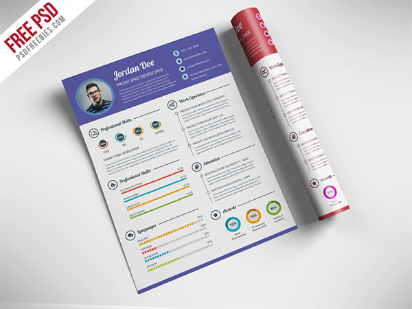33 Modelli di Curriculum in PSD e AI per Photoshop e Illustrator - professional resume