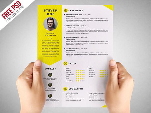 33 Modelli di Curriculum in PSD e AI per Photoshop e Illustrator - resume CV