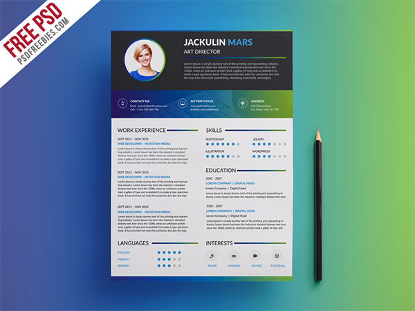 33 Modelli di Curriculum in PSD e AI per Photoshop e Illustrator - resume template 2