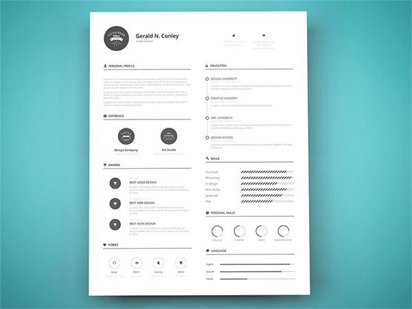 33 Modelli di Curriculum in PSD e AI per Photoshop e Illustrator - resume template