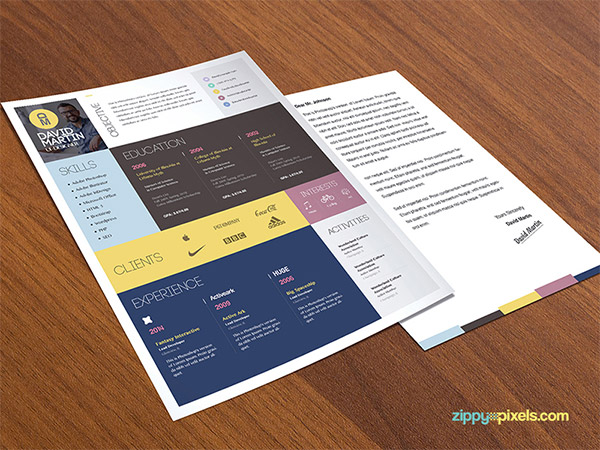33 Modelli di Curriculum in PSD e AI per Photoshop e Illustrator - simple and colorful
