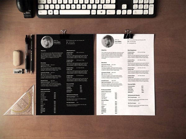 33 Modelli di Curriculum in PSD e AI per Photoshop e Illustrator - ultra minimal
