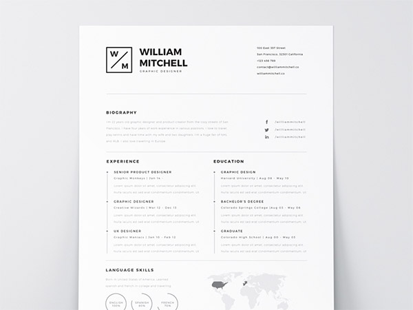 33 Modelli di Curriculum in PSD e AI per Photoshop e Illustrator - white free resume template