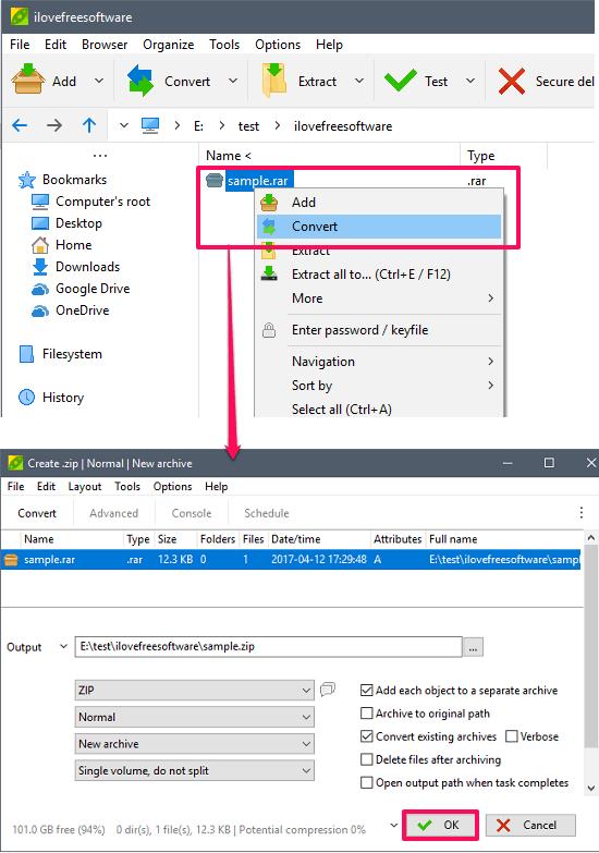 Convertire File RAR in ZIP - PeaZip