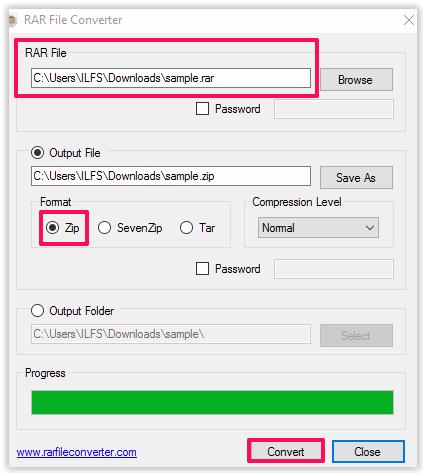 Convertire File RAR in ZIP - RAR File Converter