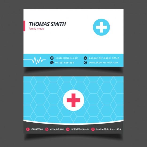 Modelli di Biglietti da Visita per Infermieri - Blue medical card vector