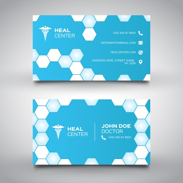 Modelli di Biglietti da Visita per Infermieri - Blue medical card with hexagons