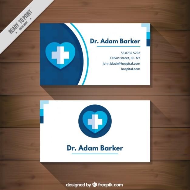 Modelli di Biglietti da Visita per Infermieri - Medical card blue heart