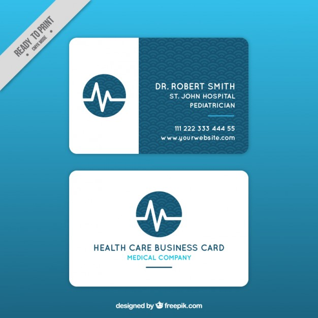 Modelli di Biglietti da Visita per Infermieri - Medical card with cardiogram