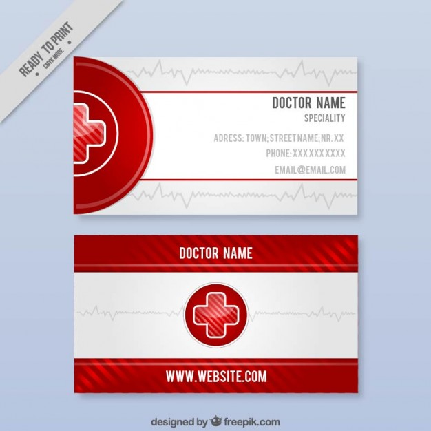 Modelli di Biglietti da Visita per Infermieri - Medical card with red details