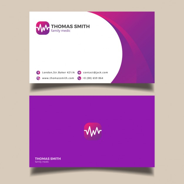 Modelli di Biglietti da Visita per Infermieri - Purple medical card
