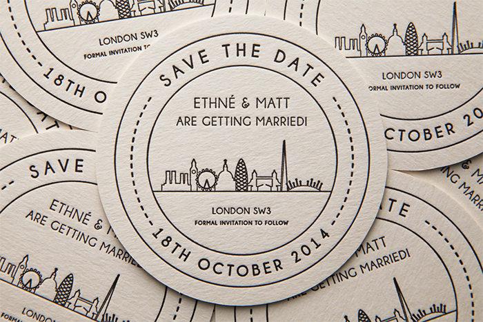 London landmarks beer mat invitation