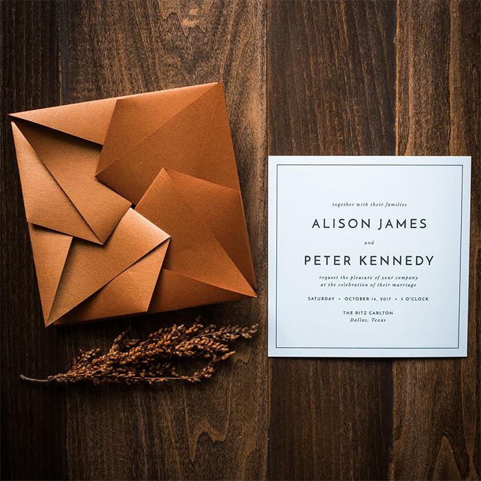 Modern Origami wedding invitation