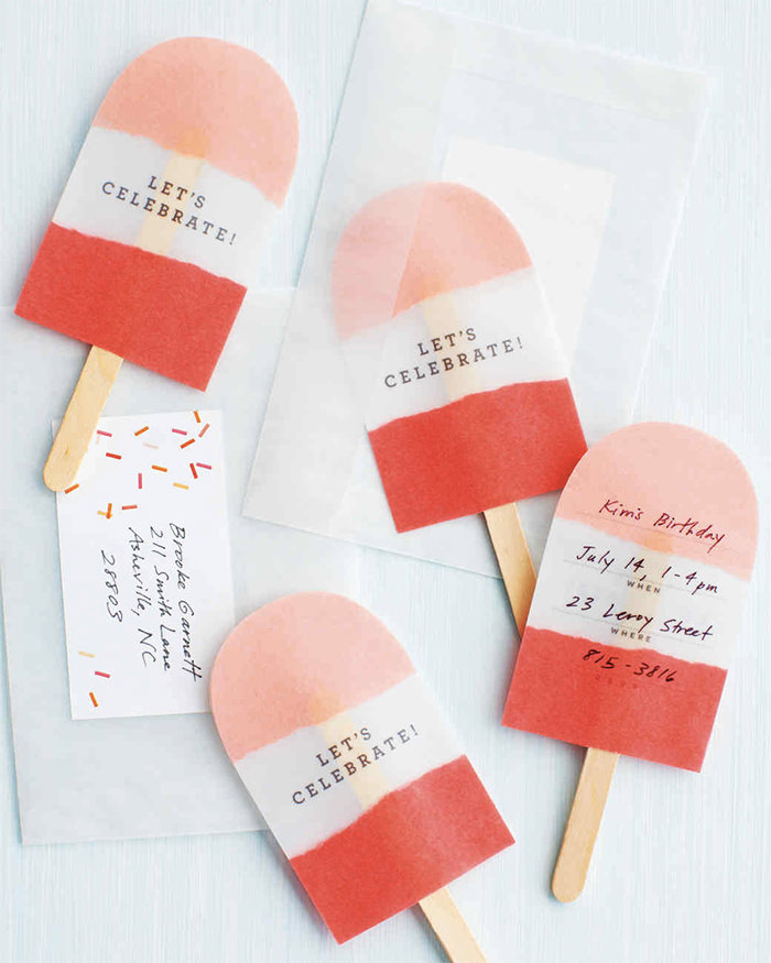 No-Melt popsicle invitations