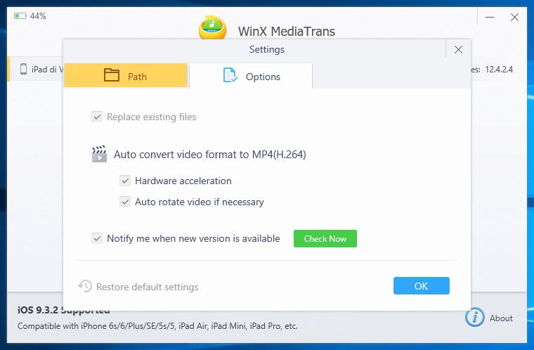 Opzioni WinX MediaTrans