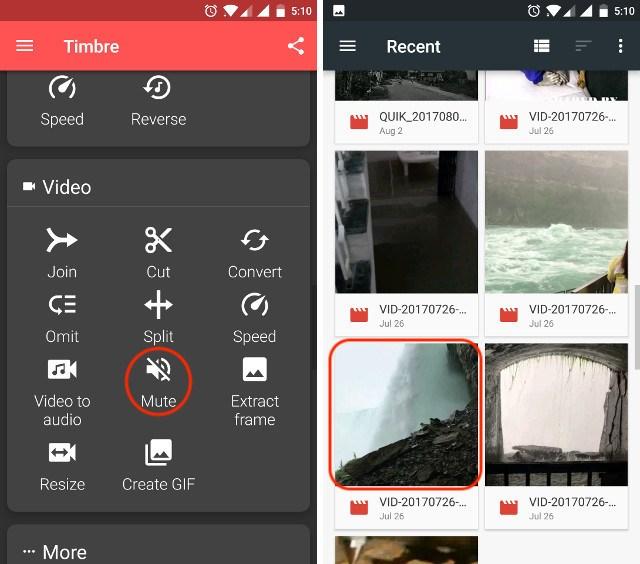 Eliminare audio da video Android
