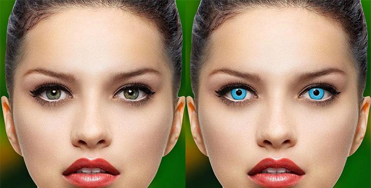 Esempio di utilizzo delle app per cambiare il colore degli occhi