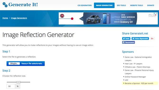 Image Reflection Generator